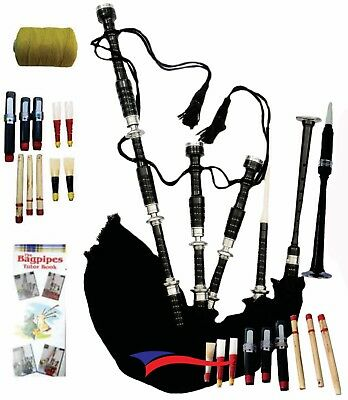Great Scottish Highland Bagpipe Rosewood Full Size with Chanter, Tutor Book, Bag