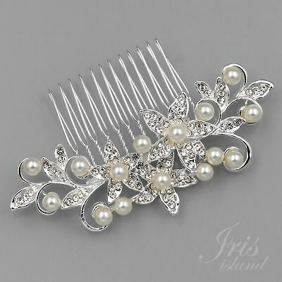 Bridal Hair Comb Pearl Crystal Headpiece Wedding Accessories Pin Clip 05312