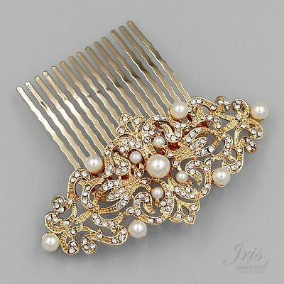 Vintage Bridal Hair Comb Pearl Crystal Headpiece Wedding Accessories 09911 GOLD