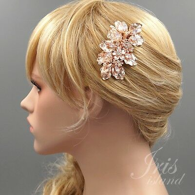 Bridal Hair Comb Pink Crystal Headpiece Pearl Wedding Accessories 4231 ROSE GOLD