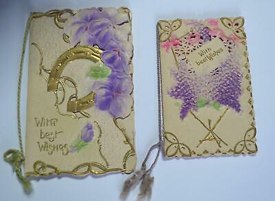 2 pc lot Antique VICTORIAN Merry Christmas cards