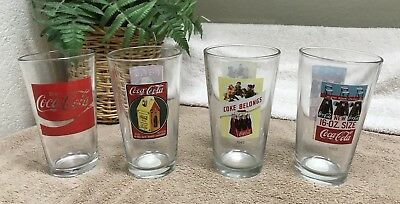 Coca-Cola Vintage Collectible Drinking Glasses Advertising 16oz Libby Set of 4