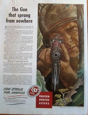 Marine Aims Carbine Right At You, WWII USS Steel Ad