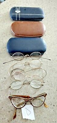 "Eyeglasses Vintage Mixed Lot 5 Specs + 3 Cases. Retro, Reenactor, Cat Eye GF ""D"""