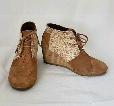 55de5c73ced7a TOMS FLORAL SUEDE Lace Up Desert Wedges Booties Sienna Brown Womens US 7