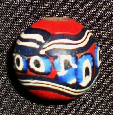 Ancient Phoenician Pattern Colorful Glass bead Stunning Mosaic Round Pendant 660