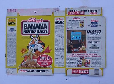 UNUSED UNFOLDED) 1983 BANANA FROSTED FLAKES cereal box Tony the Tiger
