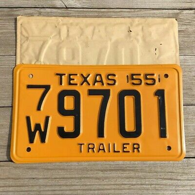 1955 Vintage antique Texas trailer license plate. NOS 7W9701 (unrestored)