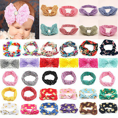 Newborn Headband Ribbon Elastic Baby Headdress Kids Hair Band Girl Bow Knot New