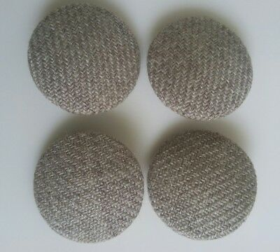 "Four Large 1 1/16"" Fabric Vintage Buttons Beige Herringbone Cloth Shank ""Mink"""