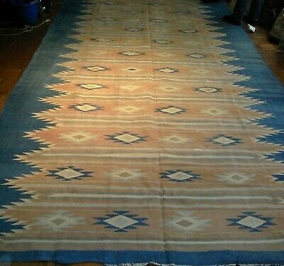 "Antique Indian cotton jail dhurrie 7'9"" x 14'6"" (8x15ft) late 19th century"