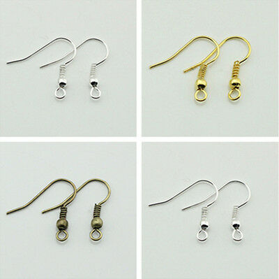 Wholesale 200pcs Silver/Bronze/Gold Plated Earring Hooks Jewerly Findings 20mm