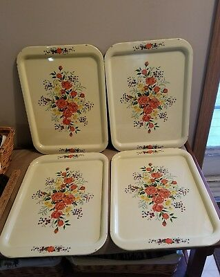 VTG. 4 PC SET;Floral Metal Tray Retro Snack Tray ;YELLOW/CREAM Tole FLOWERS;4 PC