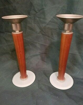 Vintage Retro  Candle Holders Modern Danish Style Wood Glass Metal Candlesticks