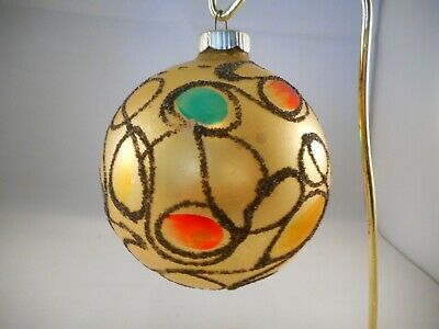 Vintage Mercury Glass Christmas Tree Ornament Round Black Glitter Stained Glass