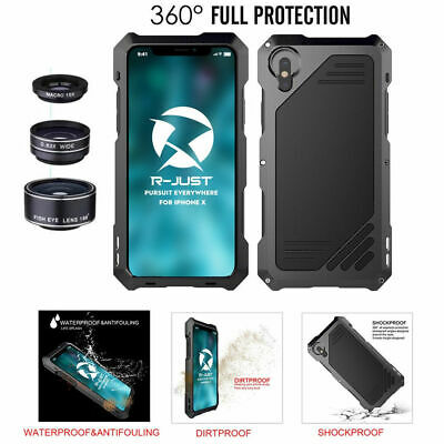 For iPhone Xs Max X Metal Aluminum Case Cover With Fisheye Wide Angle Macro Lens