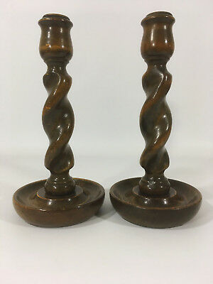 A Pair of Vintage Oak Barley Twist Candlestick Holders 20cm