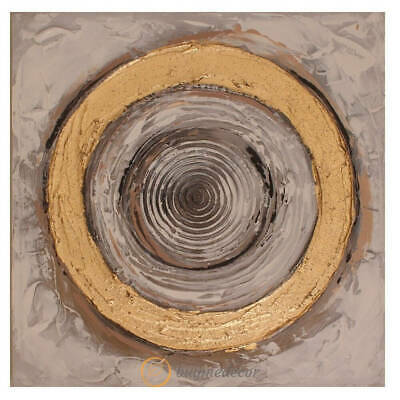 Hand-Painted Canvas Oil Painting – Golden Circle Wall Hanging Home Decor
