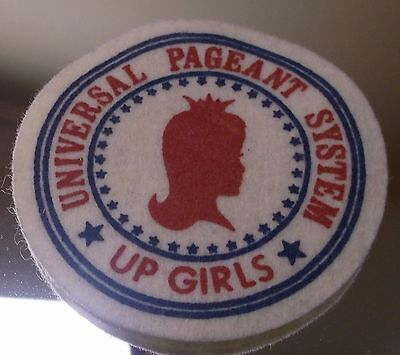 """Vintage Sewing Patch Felt - Universal Pageant System """"Up Girls"""" - Kids Beauty"""
