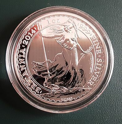2014 Great Britain 1 oz Silver Britannia Coin 999 Fine Silver in air-tite