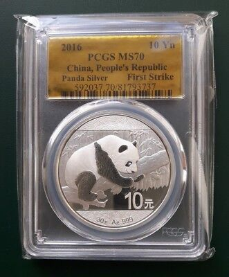2016 China Panda 30 grams 999 Silver coin 10 Yuan graded PCGS MS 70 First Strike