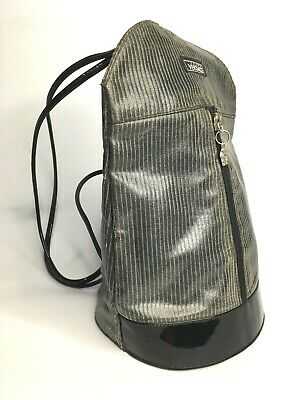 70a3a6a7f7 GIANNI VERSACE VINTAGE '90s BACKPACK BAG STRIPED VINYL MEDUSA GREY PATENT  ITALY