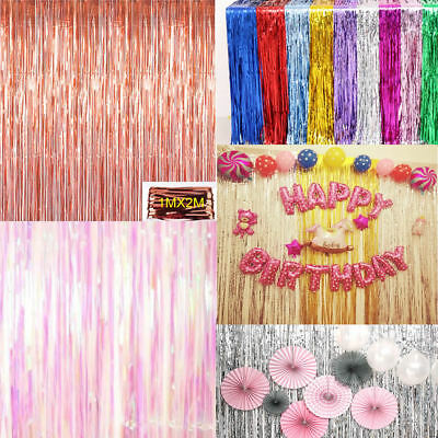 1 X 2M Long Metallic Foil Fringe Tinsel Curtain Wedding Backdrop Birthday Party