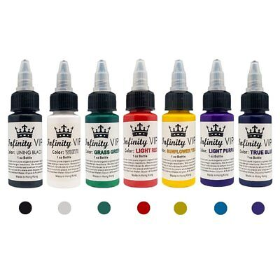 Professional Salon Tattoo Ink 7 Colors Set 1oz 30ml/Bottle Pigment Kit Art F2