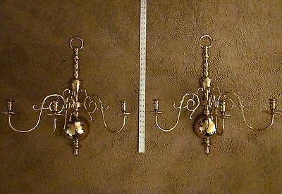 """VIRGINIA METALCRAFTERS Brass Wall Sconces # 2006-C 3 Arm 23"""" tall 2 LARGE ~ EXC"""