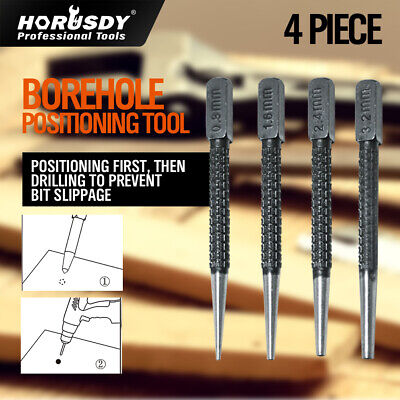 4Pc Nail Punch Set Heavy Duty Solid Steel Hole Punching Leather Gasket 0.8-3.2mm