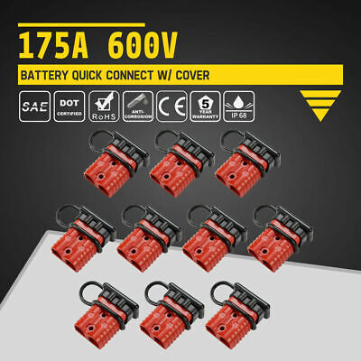 10Pcs 175A 600V Battery Quick Connect w/ Dust Cover Charger Power SB175 Red