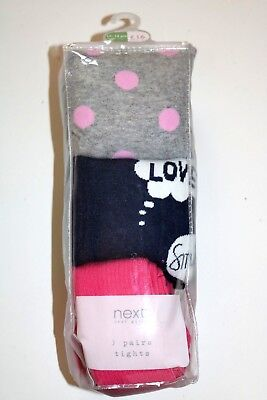 Next - 3 Pack Pink / Navy Blue / Grey Polka Dots Tights - Girls 9-10 11-12 Years