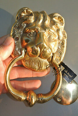 "LION head heavy POLISHED Door Knocker SOLID BRASS vintage old style house 7""B"