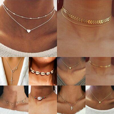 Sweet Women Heart Star Crystal Pendant Choker Necklace Clavicle Chain Jewelry