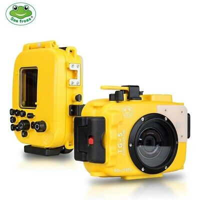 Seafrogs 60m/195ft Underwater Camera Housing Case for Olympus TG-5 w/ Red Filter