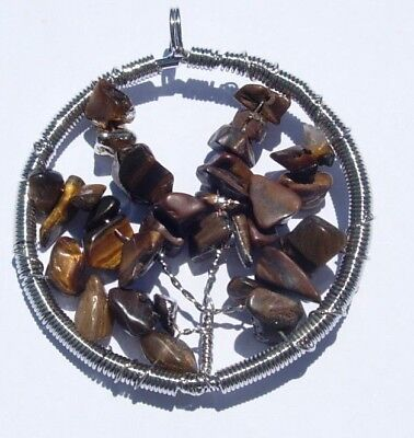 Natural Tigers Eye Mix Stones Wire Wrap Tree Of Life Pendant Charm Reiki Heal