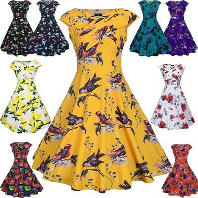 Womens Sleeveless 1950s 60s Vintage Floral Rockabilly Cocktail Party Swing Dress