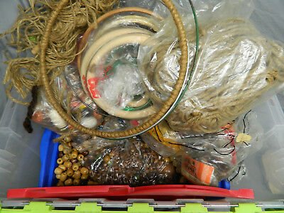 Huge Macrame Lot - Over 14 Pounds of Beads, Different Size Rings - See Listing