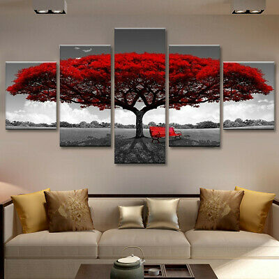 5pcs Modern Red Tree Art Canvas Oil Painting Picture Print Home Decor Unframed