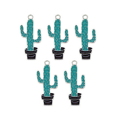 8pcs Silver Enamel Alloy Green Cactus Pendants Charms Accessories Crafts 53625