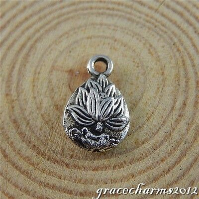 48x Vintage Silver Alloy Double-Side Lotus Pendants Findings Charms Crafts 50662