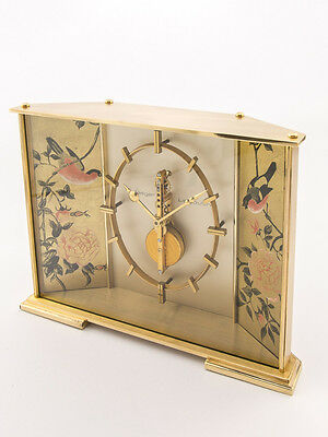 Rare Jaeger-LeCoultre BIRDS & ROSES table clock with 8 day inline movement, 60´s
