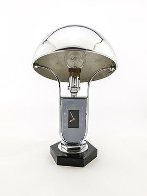 Ultra rare Jaeger (LeCoultre) Table Clock with 8 day movement, lamp, 1930´s