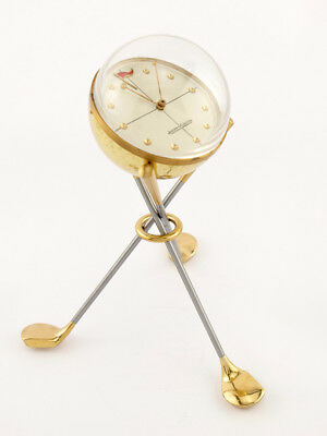 Ultra rare Jaeger-LeCoultre Table Clock with 8 day movement, GOLF,  1950´s