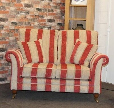 Parker Knoll Burghley PETIT 2 SEATER SOFA IN RED STRIPE FABRIC