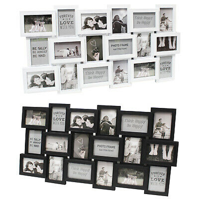 Large 18 Photo Multi Picture Wall Frame Aperture Mounted Family Memories Collage