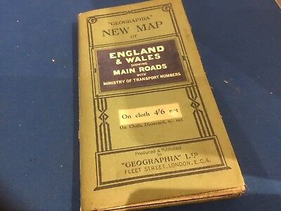 Classic car. map Geographia Main Road Map England and Wales Price 4' 6d clearout
