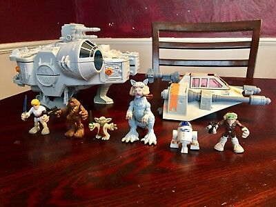 Star Wars Galactic Heroes LOT MILLENNIUM FALCON AT-TE Transformers Figures