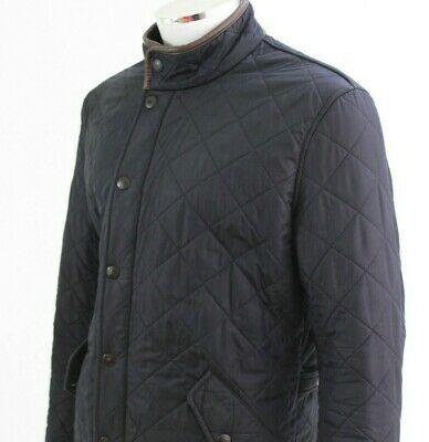 Barbour Mens MEDIUM Navy blue Quilted Leather Trim Bomber Jacket POWELL