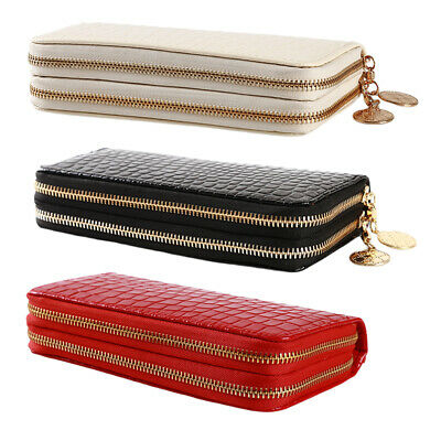 Fashion Women PU Leather Wallet Phone Case Double Zip Coins Cards Purse ONE